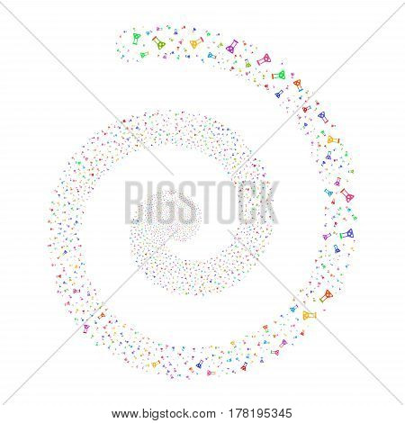 Chemistry fireworks swirl spiral. Vector illustration style is flat bright multicolored scattered symbols. Object whirlpool created from scattered design elements.