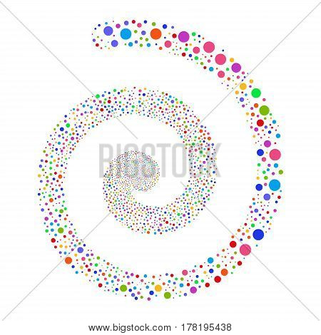 Circle fireworks swirl spiral. Vector illustration style is flat bright multicolored scattered symbols. Object burst constructed from scattered design elements.