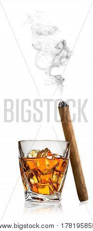 Whiskey with ice isolated on white background