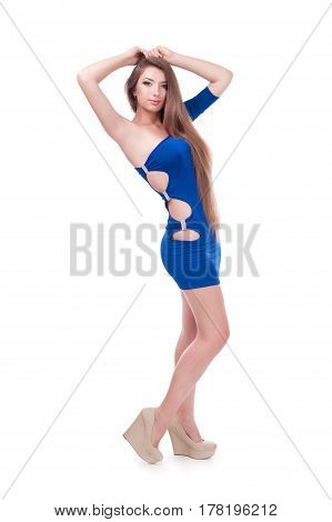 beautiful girl in a dress. isolated on white background