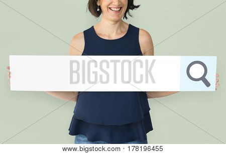 Happiness woman holding searching banner studio portrait