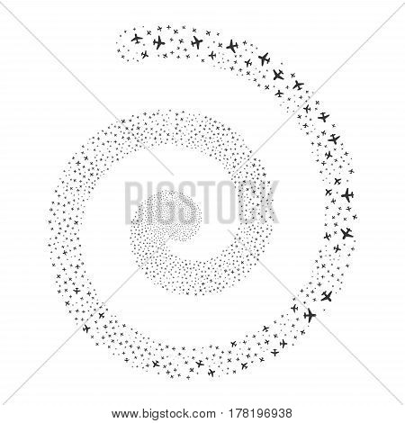 Airplane fireworks burst spiral. Vector illustration style is flat gray scattered symbols. Object swirl created from random pictographs.