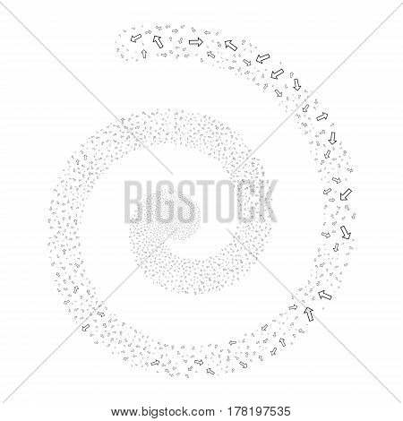 Arrow fireworks whirl spiral. Vector illustration style is flat gray scattered symbols. Object vortex organized from random symbols.
