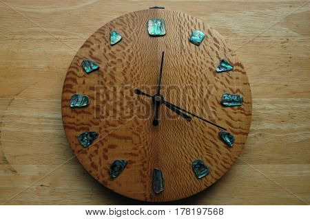 wood clock time face hands  hours  work