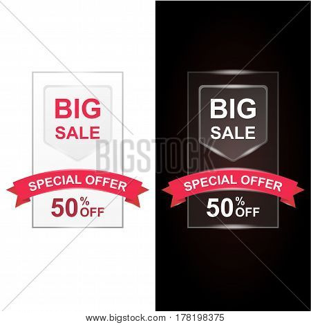 Big Sale with 50 percent discount and big offer with shiny red ribbon. Illustration set for flyer, website or banner. Set of design for white light and dark black background.
