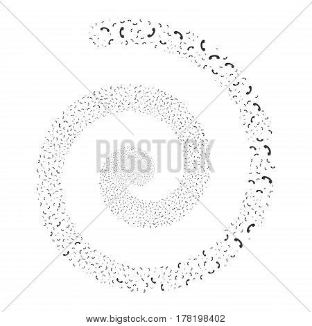 Call fireworks whirl spiral. Vector illustration style is flat gray scattered symbols. Object whirl created from scattered pictographs.