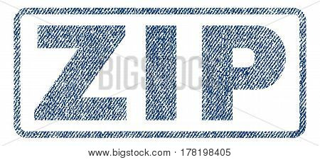 Zip text textile seal stamp watermark. Blue jeans fabric vectorized texture. Vector tag inside rounded rectangular shape. Rubber sign with fiber textile structure.