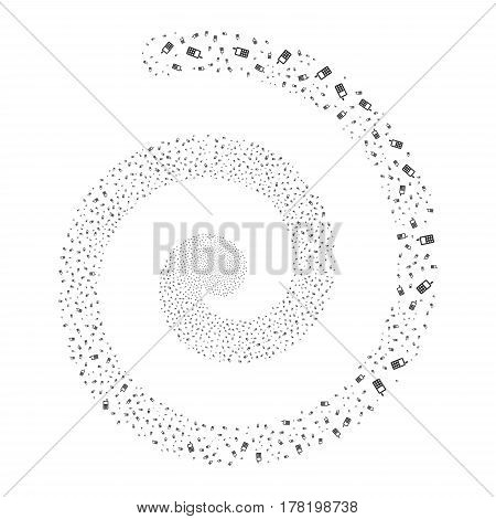 Cell Phone fireworks whirlpool spiral. Vector illustration style is flat gray scattered symbols. Object swirling organized from random pictographs.