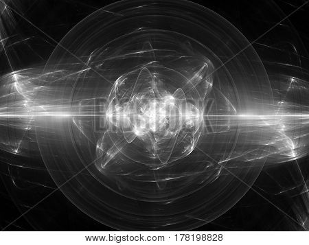 Glowing fusion in space plasma force field computer generated abstract intensity map 3D rendering