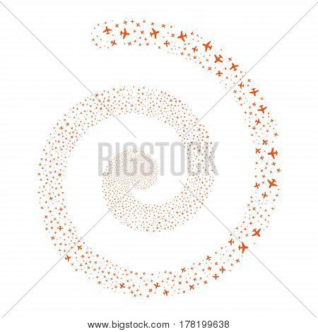 Airplane fireworks whirlpool spiral. Vector illustration style is flat orange scattered symbols. Object helix made from scattered icons.