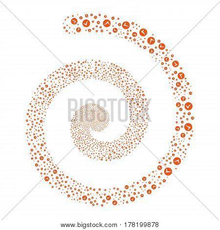Apply fireworks swirling spiral. Vector illustration style is flat orange scattered symbols. Object whirl made from random symbols.