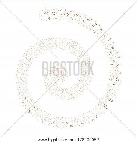 Arrow fireworks vortex spiral. Vector illustration style is flat orange scattered symbols. Object helix combined from random pictographs.