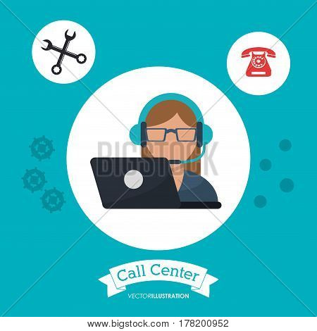 call center woman receptionist support laptop vector illustration eps 10