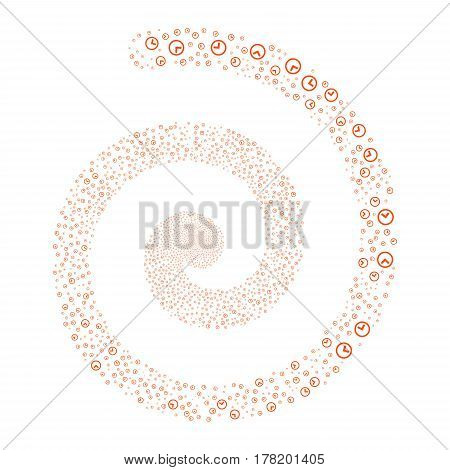 Clock fireworks vortex spiral. Vector illustration style is flat orange scattered symbols. Object helix made from random design elements.