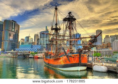 Vintage sailing ships in Sydney Harbour - Australia, New South Wales