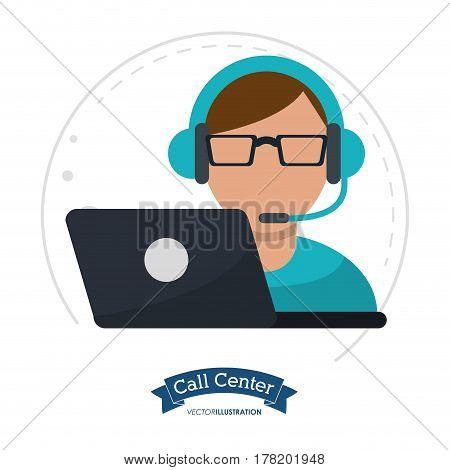 call center man laptop headset vector illustration eps 10