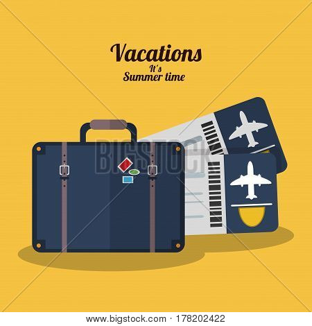 vacations summer time - suitcase tickets airline vector illustration eps 10