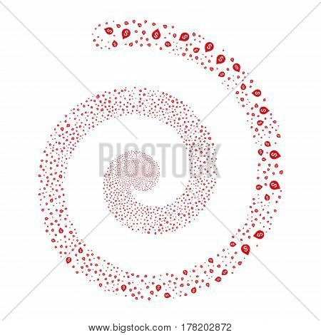 Banking Map Marker fireworks burst spiral. Vector illustration style is flat red scattered symbols. Object helix organized from random pictographs.