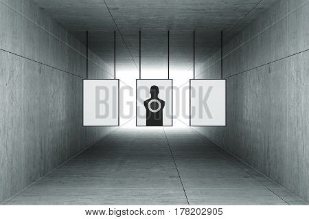3d rendering : illustration of Abstract square cement concrete tunnel interior with shooting target hanging from roof. light at the end of tunnel. go to success on target concept. tunnel background