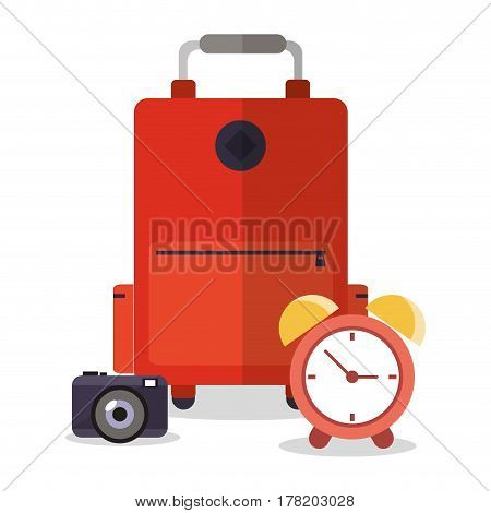 suitcase photo camera clock vacation vector illustration eps 10