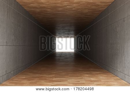 3d rendering : illustration of Abstract square cement concrete wall tunnel interior with wooden floor light at the end of tunnel go to success concept abstract tunnel background