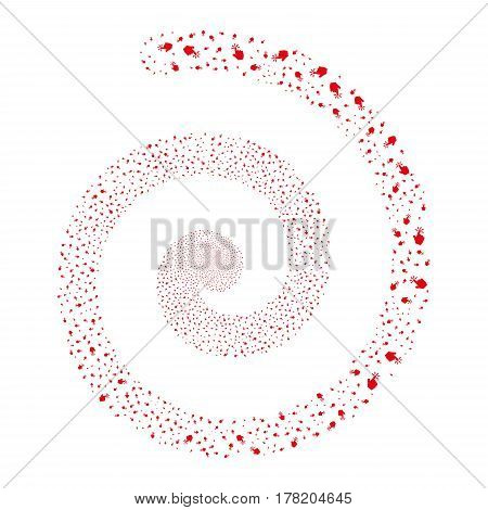Click fireworks whirl spiral. Vector illustration style is flat red scattered symbols. Object twirl created from random pictograms.