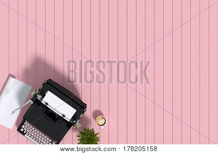 3d Rendering : illustration of vintage typewriter paper and ceramic cup coffee latte art on the pink pastel wooden tile background. vintage ancient picture background. roll of white paper little tree decor