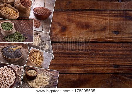 Variety of healthy grains and seeds collage on wooden background with space for text