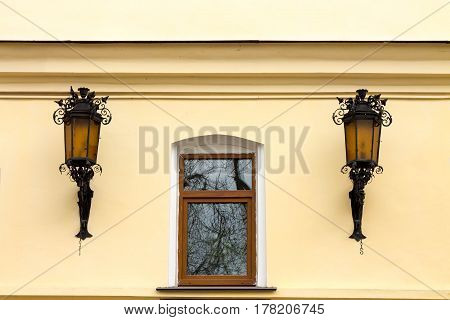 Window And Two Street Lights.
