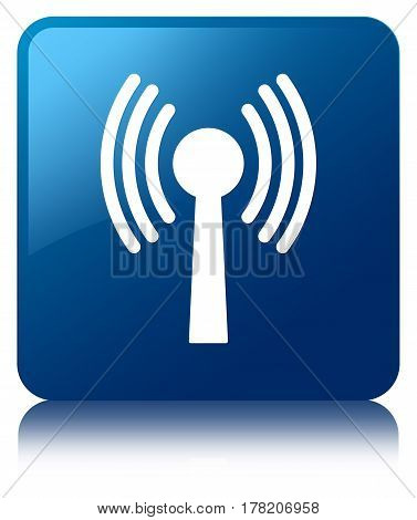 Wlan Network Icon Blue Square Button