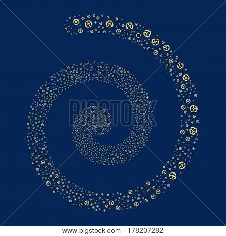 Clock Gear fireworks whirl spiral. Vector illustration style is flat yellow scattered symbols. Object burst combined from random pictograms.