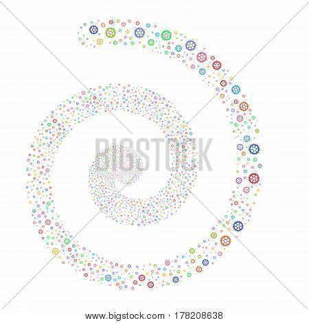 Clock Wheel fireworks swirling spiral. Vector illustration style is flat bright multicolored scattered symbols. Object vortex organized from scattered pictographs.