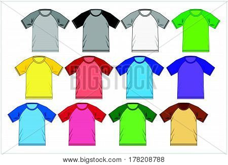 T shirt Design Template Raglan Colorful Combination, Vector.
