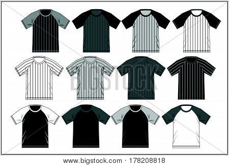Template T Shirt Raglan Black white Combination, Vector.