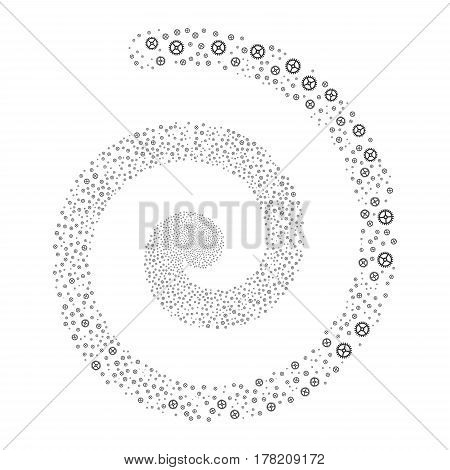 Clock Gear fireworks vortex spiral. Vector illustration style is flat gray scattered symbols. Object vortex constructed from scattered icons.