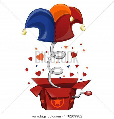 Jack in the box toy, springing out of a box. Cap and bells. Fool's cap. Illustration for celebrating April Fool's Day. Vector illustration