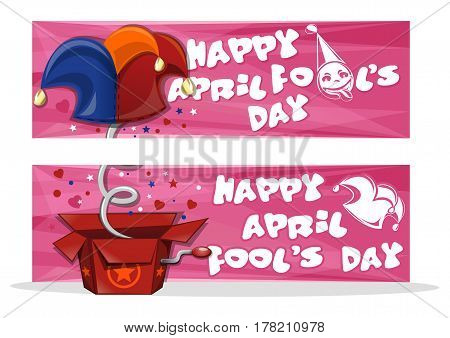 Happy April Fool's Day. Set banners for April Fool's Day with jack in the box toy, springing out of a box. April first design. Vector illustration