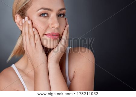Beauty portrait of tender maturity woman