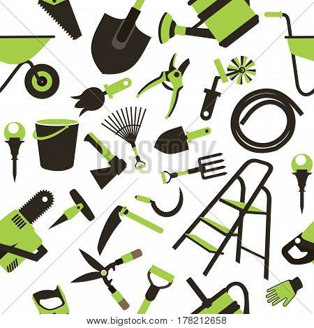 seamless pattern Set of icons of garden tools work equipment Design element for advertisment white