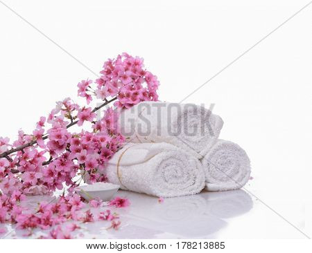 pink cherry on three rolled towel ,salt in bowl isolated