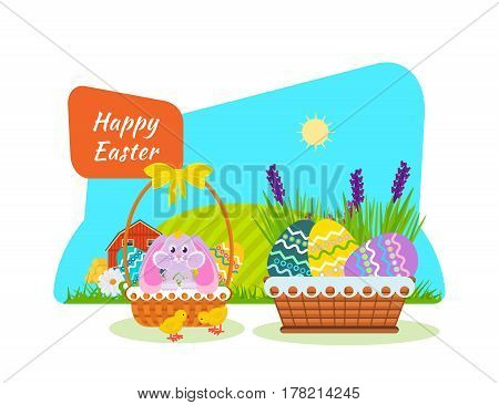 Lovely bunny in the basket, nestlings the pecking on the cereal, festive atmosphere and baskets with eggs. Vector illustration. Can be used in banners, invitation, postcards, poster.
