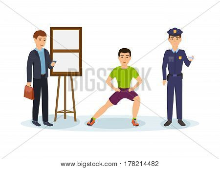 Men's professions. A businessman with a briefcase in hands is calling by phone, a fitness trainer is squatting, a police officer in working order. Vector illustration isolated in cartoon style.