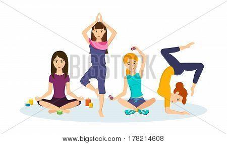 Girls engaged in sports and yoga, taking different positions, adhering to a healthy lifestyle and diet, taking vitamins, drinks, making sure health. Vector illustration isolated in cartoon style.