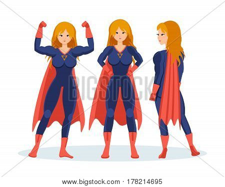 Set of female superhero in different situations and poses. Longhaired superwoman actions set in cartoon colored style in costume. Vector illustration isolated in cartoon style.