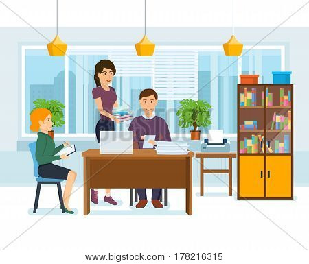 Group of office workers. The guy works at the computer, signs the documents that brought a colleague, alongside the partner fixes notes in the notebook. Vector illustration isolated in cartoon style.