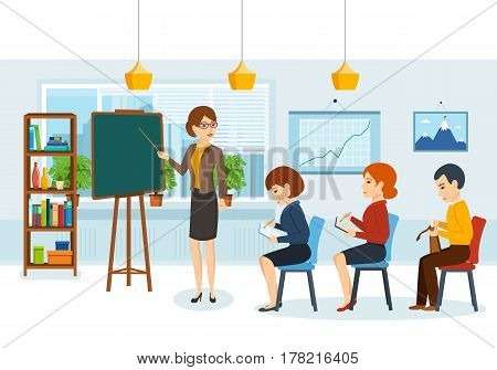 Speaker conducts training and teaching of audience at joint meeting. Colleagues discuss financial issues and statistics of state of affairs of company. Vector illustration isolated in cartoon style.