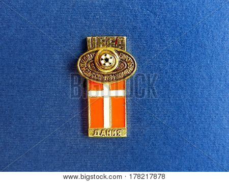 USSR - CIRCA 1984: Badge with the image ball and flag Denmark, the inscription
