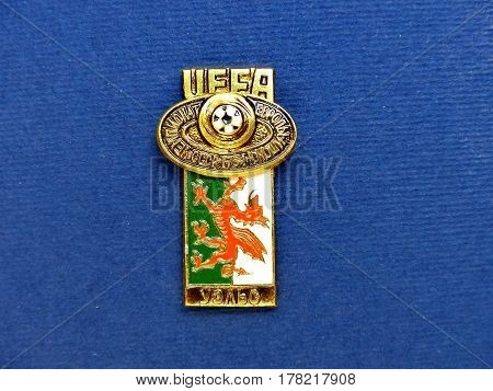 USSR - CIRCA 1984: Badge with the image ball and flag Wales, the inscription