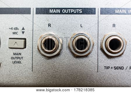Input Sockets of the Audio Mixer. Rear Side of Audio Device.