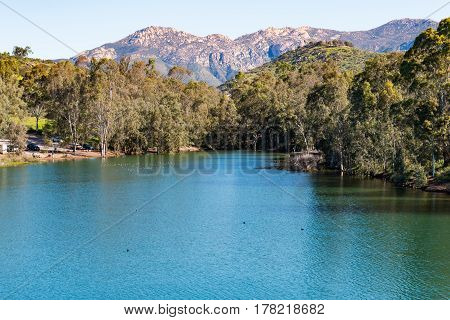 El Cajon Mountain (El Capitan) and Lake Jennings in Lakeside, California, a popular destination for boating and fishing.